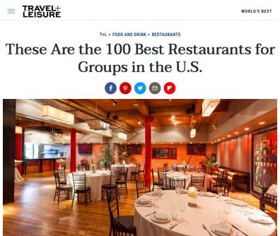 Sunda Named 100 Best Restaurants For Groups By Travel Leisure